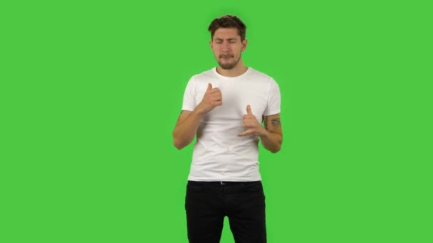 Confident guy is dancing funny.. Green screen