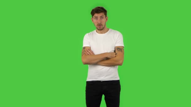 Confident guy is frightened then sighs with relief and smiles. Green screen