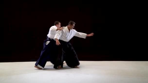 Dvě ukázky techniky Aikido Masters na černobílém studiu.