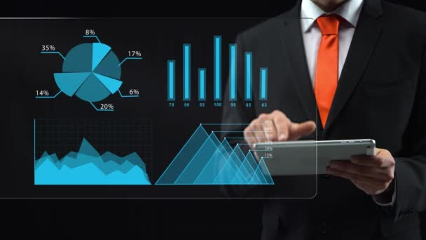 Businessman uses holographic interface, drawing an ascending financial chart. Touchscreen.