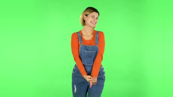 Girl with wow face expression and tender smiling. Green screen