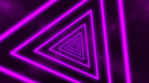 Absztrakt háttér neon fények háromszögek, hurkolt animáció alkotó alagút. Lila vonalak. CG animáció 3d renderelés