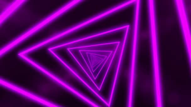 Abstraktní pozadí s animací letu v abstraktním futuristickém tunelu s neonově fialovým světlem. Animace bezešvé smyčky.