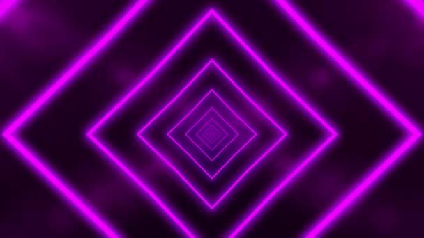 Absztrakt háttér animációs repülés absztrakt futurisztikus alagút neon lila fény. Zökkenőmentes hurkok animációja.