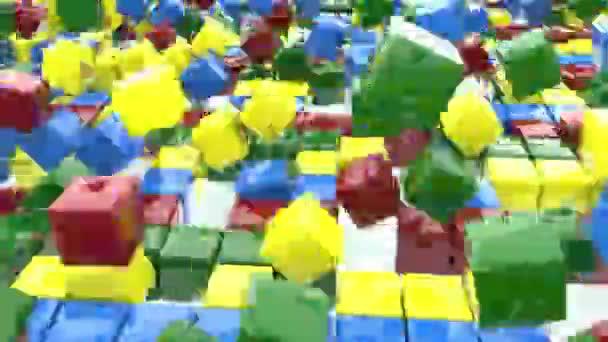 Lesklé kostky všechny barvy duha rychlé skákání. Zavřít. 3D animace obdélníkových objektů