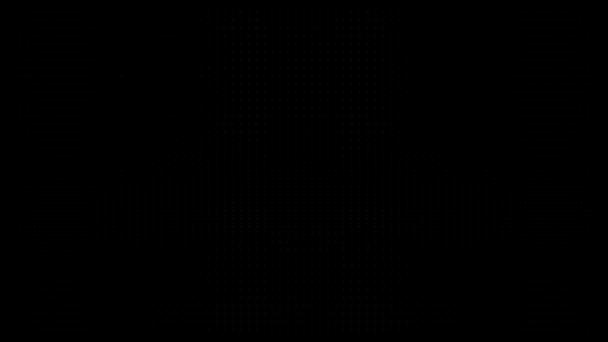 Fehér pöttyök fekete háttér előtt. Koncentrikus növekvő körök zökkenőmentes hurok átmenet