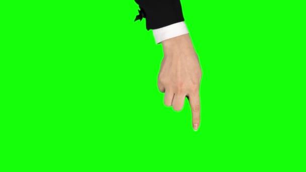 Nő kéz fekete kabát teljesít pan balra és jobbra, dupla tabletta képernyőn gesztus. Krómkulcs. Közelről.