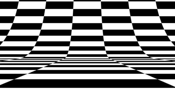 Schwarz-weiße Mustersteine vertikal. Künftige geometrische Muster Bewegungshintergrund. Nahtlose Schleife.
