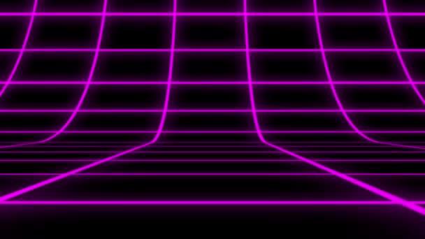 Lila holografikus rácsmátrix függőleges mozgási grafikai elem. Absztrakt technológiai fekete háttér lila csíkokkal és részecskékkel.