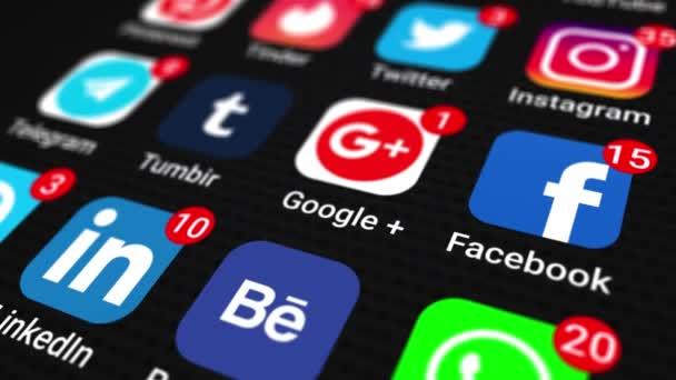 Bewegtgrafische Videoanimation, die Social-Media-Apps auf einem Smartphone veranschaulicht, schwarzer Bildschirm. Nahaufnahme