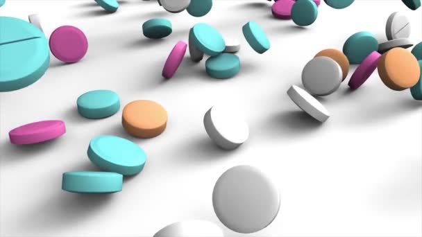 Colorful pharmaceutical pills fall down at pile on the white background. 3D animation closeup background