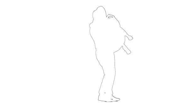Outline sketch of guy takes the girl in his arms and kisses. Silhouette. White background