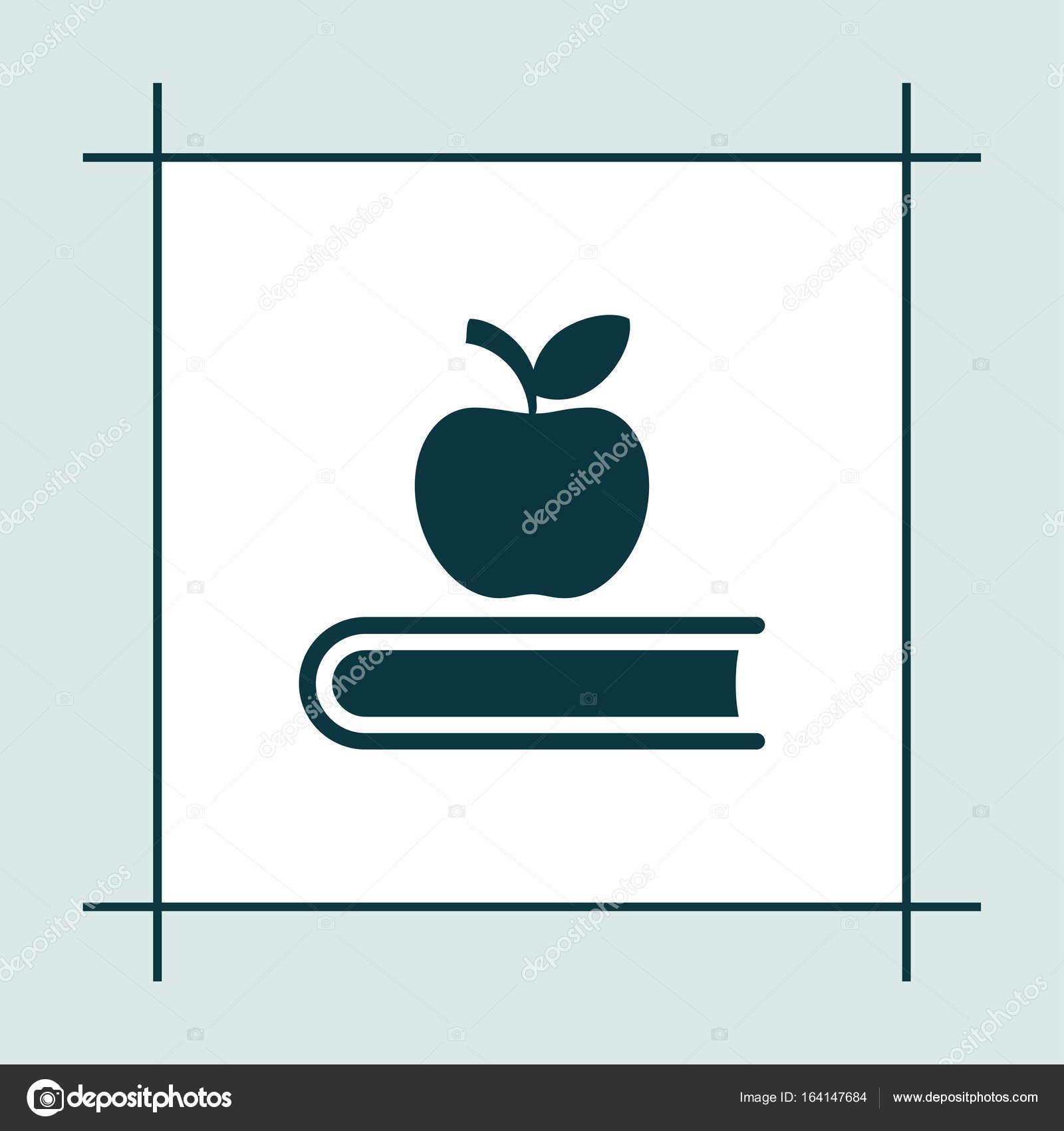 Buch-Symbol Vektor Bildung Abbildung Apfel zu unterzeichnen ...