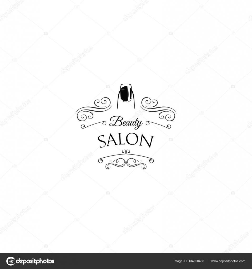 Beauty-Salon-Label. Nagel. Maniküre-Abzeichen. Filigrane verwirbelt ...