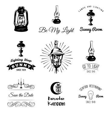 Lighting Labels Set. Table Lamp, Street Lamp, Candle Holder, Candle Edison Bulb. Vector Illustration