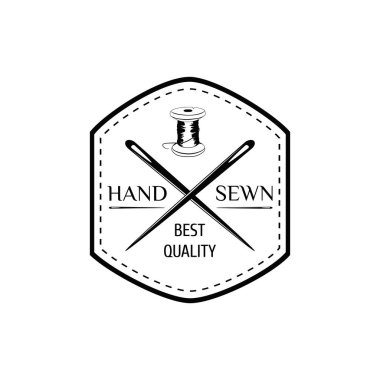 The Hand Sewing. Stripe Needle Thread. Sewing Studio Badge. Tailor Shop Logo. Vector Illustration