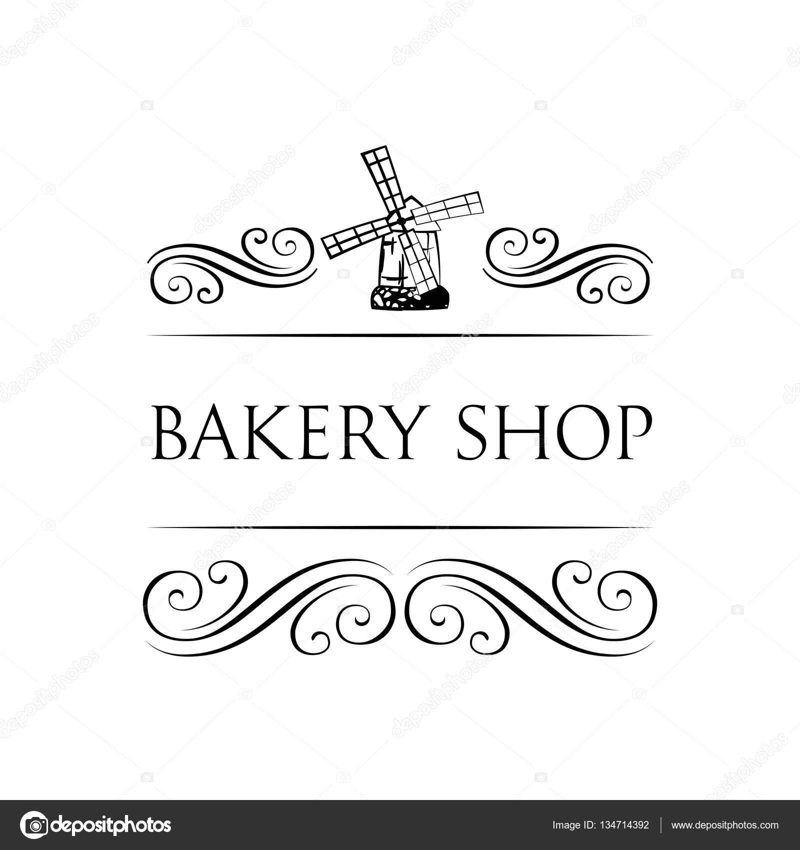 Símbolo de antiguo molino para la etiqueta de la panadería. Tienda ...