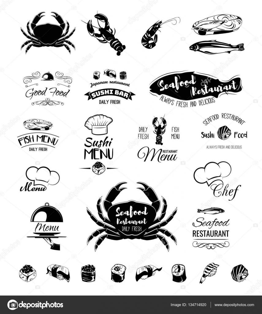 Restaurant-Menü-Design. Café-Menü-Abdeckung. Fisch und Meeresfrüchte ...