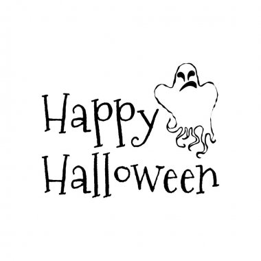 Happy Halloween concept. Vector Halloween retro badge. Concept for shirt or logo, print, stamp and seal. Ghost. Typography Halloween party design- stock vector.