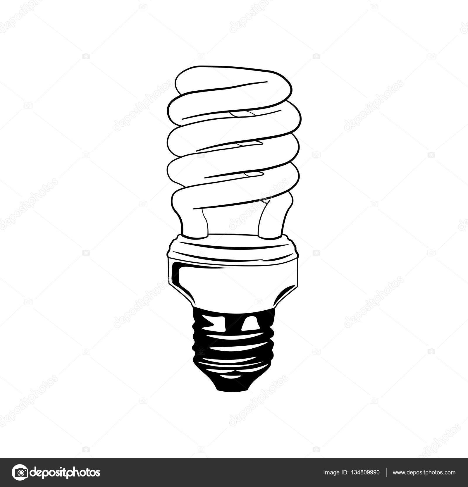 Enerji Tasarruflu Ampul Parlak Simge Floresan Lamba Vektor Cizim