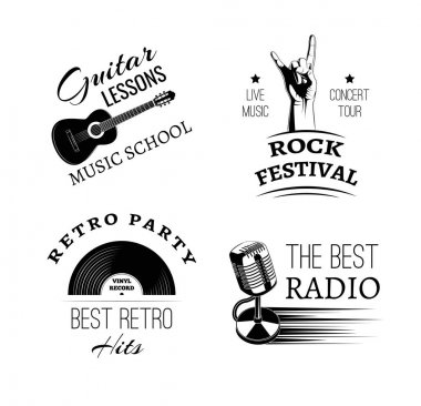 Music vintage retro label and badge. Guitar, violin, harp, gramophone, microphone, hand in rock, drum and drumsticks.