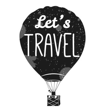 let s Travel. Vector. Isolated Hot air balloon in the sky