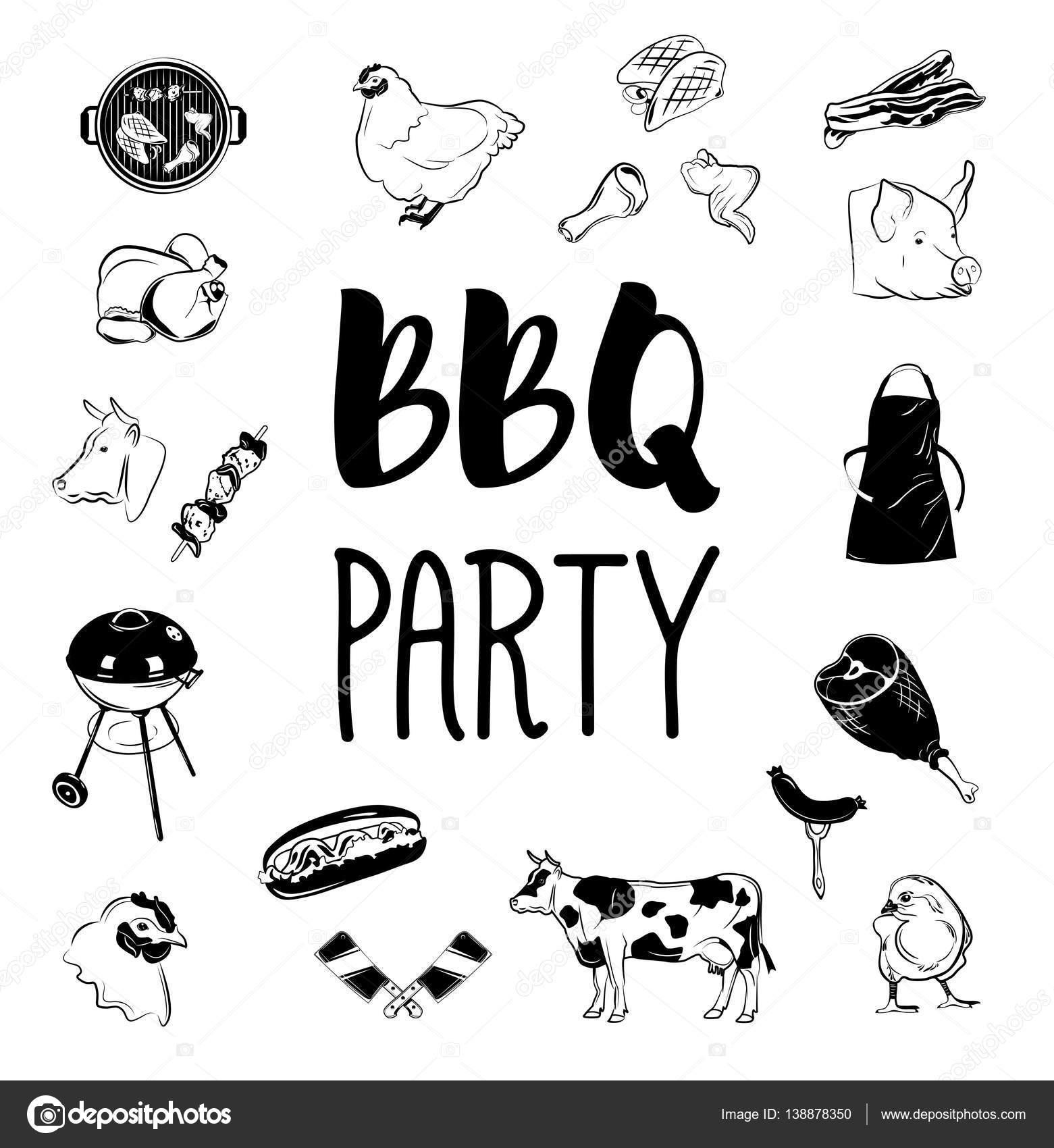 バーベキュー パーティー ロゴとラベルベクトル白黒イラスト