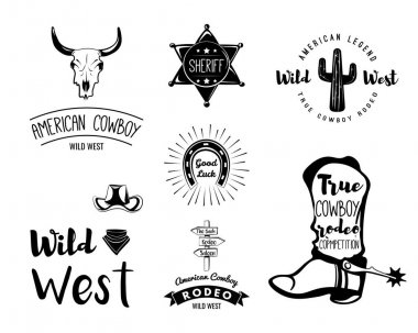 Wild West. Set of vintage rodeo emblems, labels, logos, badges
