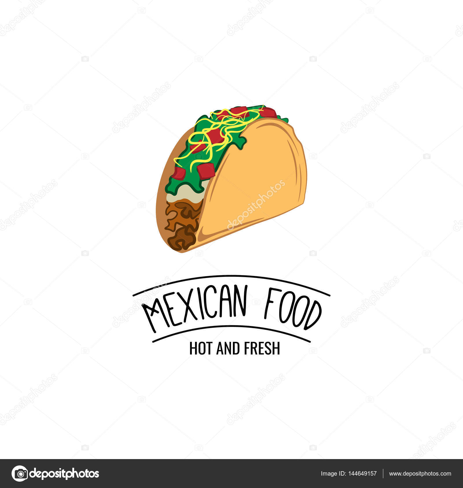 Taco Traditional mexican food Label template or concept Can be