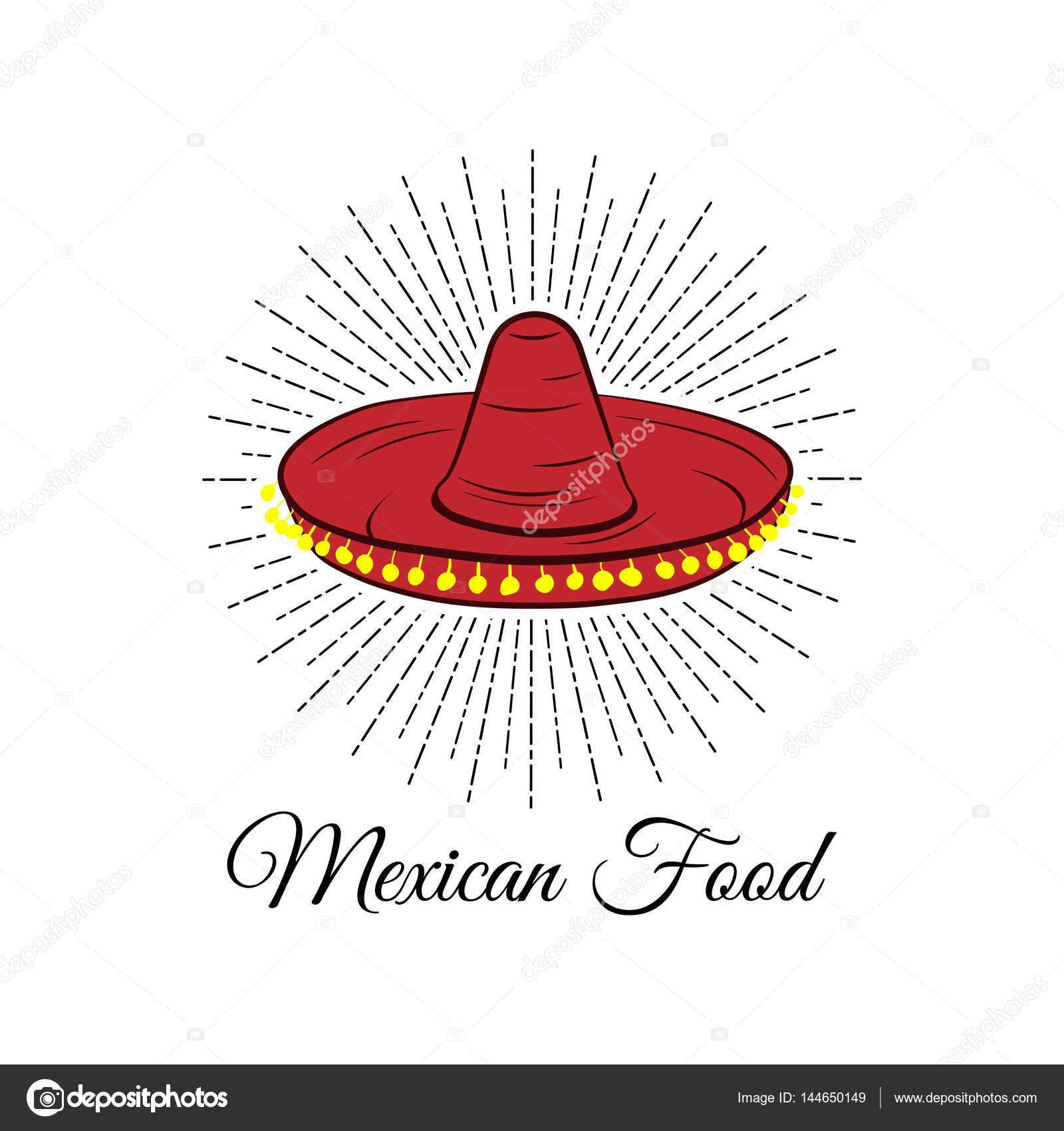 452ce3ae840af Sombrero rojo. Insignia de la comida mexicana. Ilustración de vector  aislado en blanco —