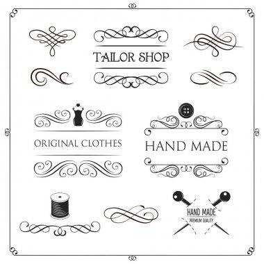 Clothes store logos set