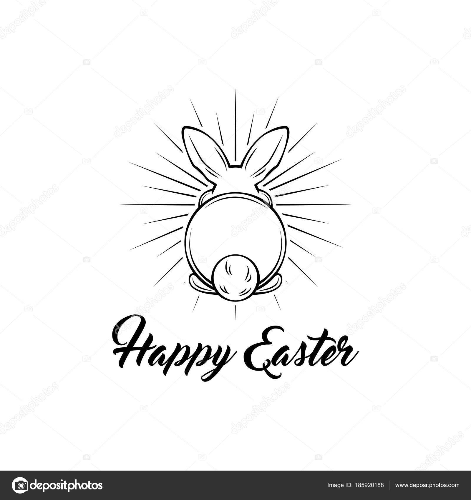 Frohe Ostern Schriftzug Kartendesign mit Bunny im Balken. Vektor ...