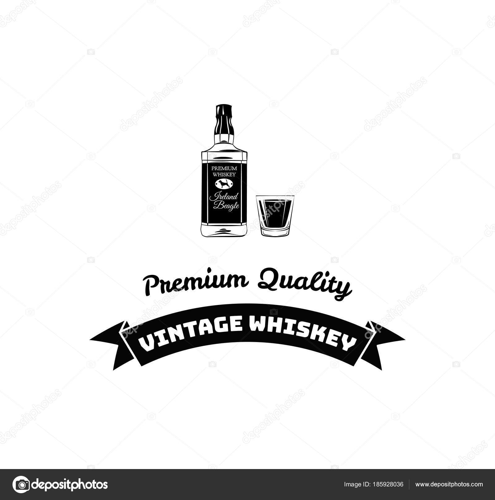 Poster Bottle Of Alcohol With Hand Drawn Lettering Monochrome Vintage Drawing For Drink Menu Or