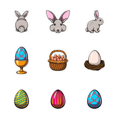 Big easter set with traditional eggs. Traditional detailed eggs, rabbits. vector illustration. icon
