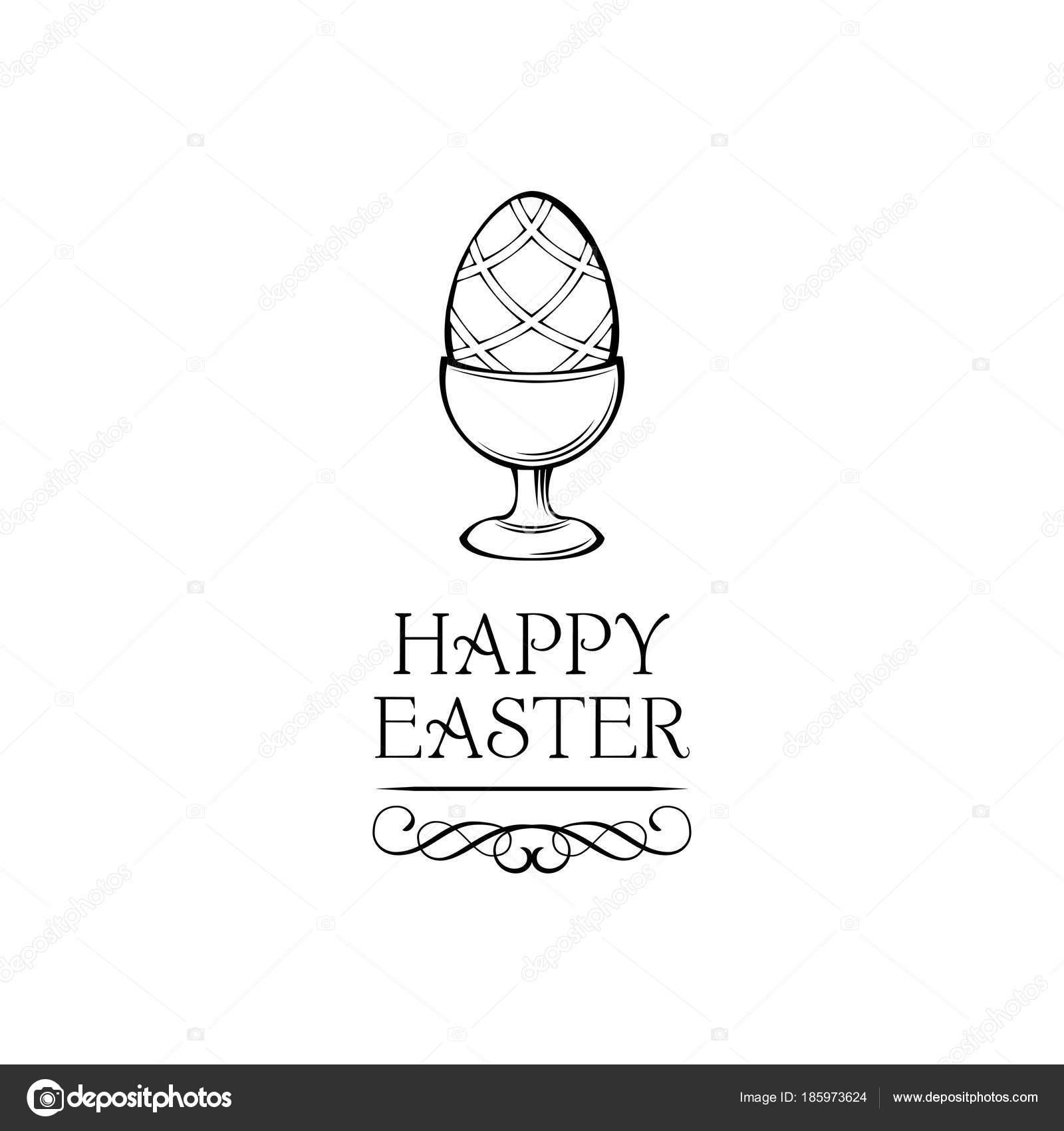 Glückliches Ostern Tag Grußkarte mit Ei-Halter. Vektor — Stockvektor ...