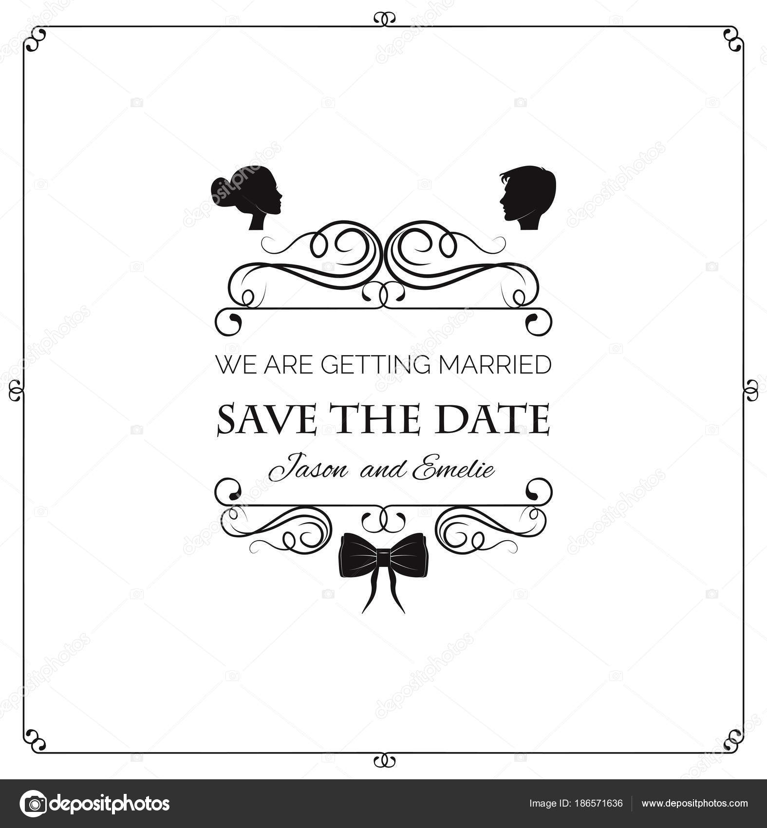 Wedding invitation. Vector silhouette bride and groom. Vector ...