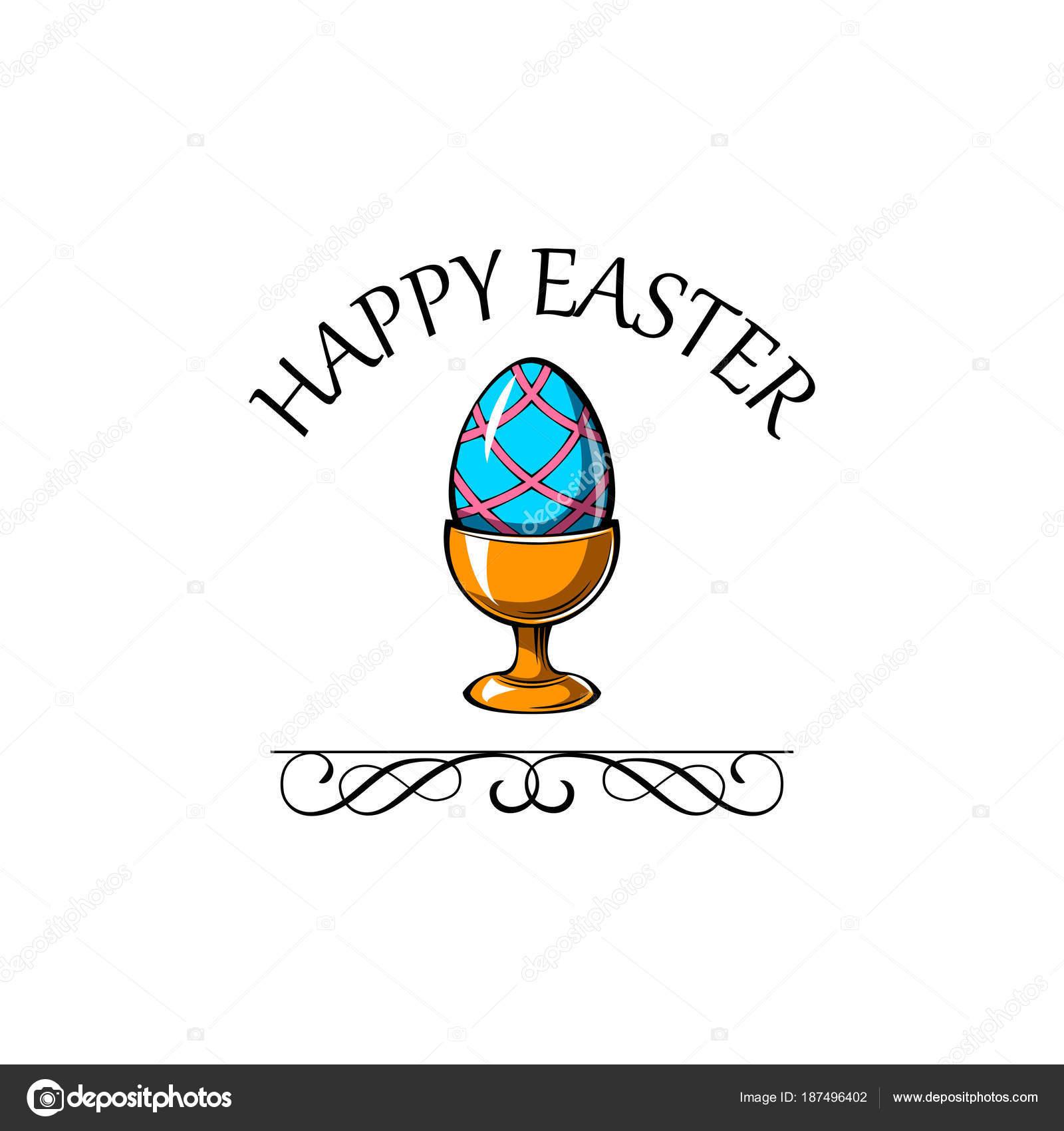 Glückliches Ostern Tag Grußkarte mit Ei-Halter. Vektor-illustration ...