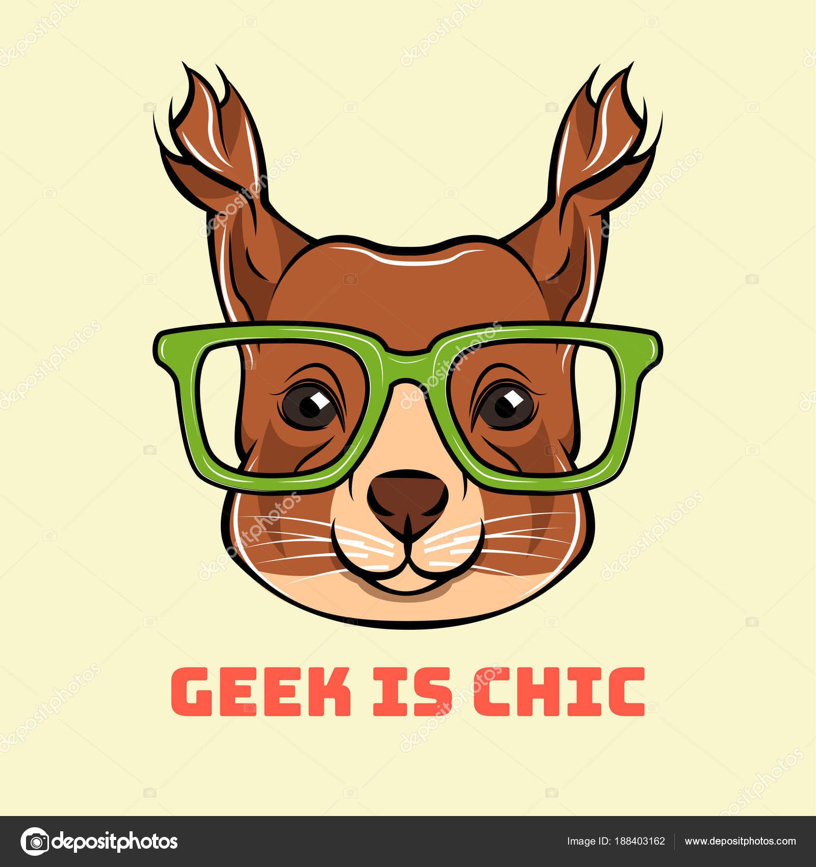 Cartoon-Eichhörnchen-Geek. Eichhörnchen Sie im smart Brillen. Vektor ...