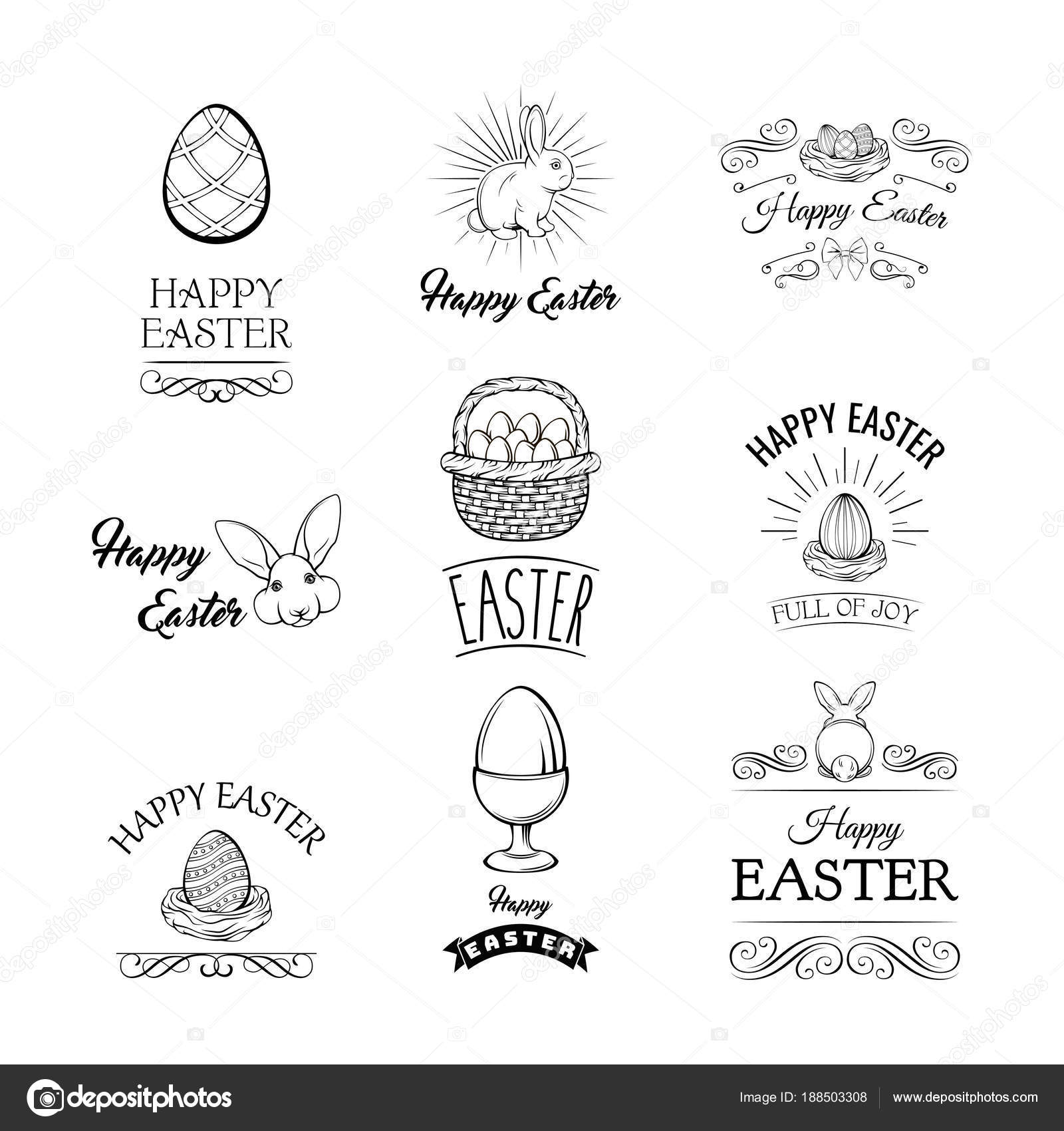 Easter Symbols Badges Spring Religious Christian Colorful Items