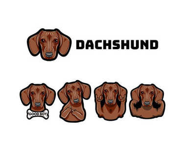 Dachshund with gestures. Dog. Middle finger, muscles, bone, rock, horns. Vector.
