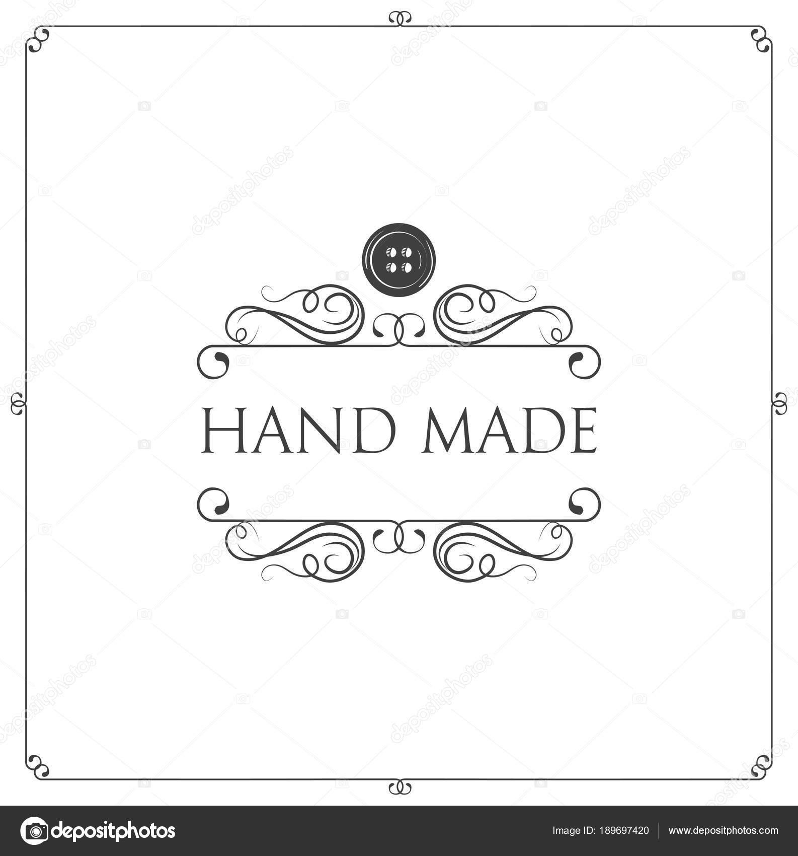 Hand made label. Button, swirls, filigree frame. Workshop emblem ...