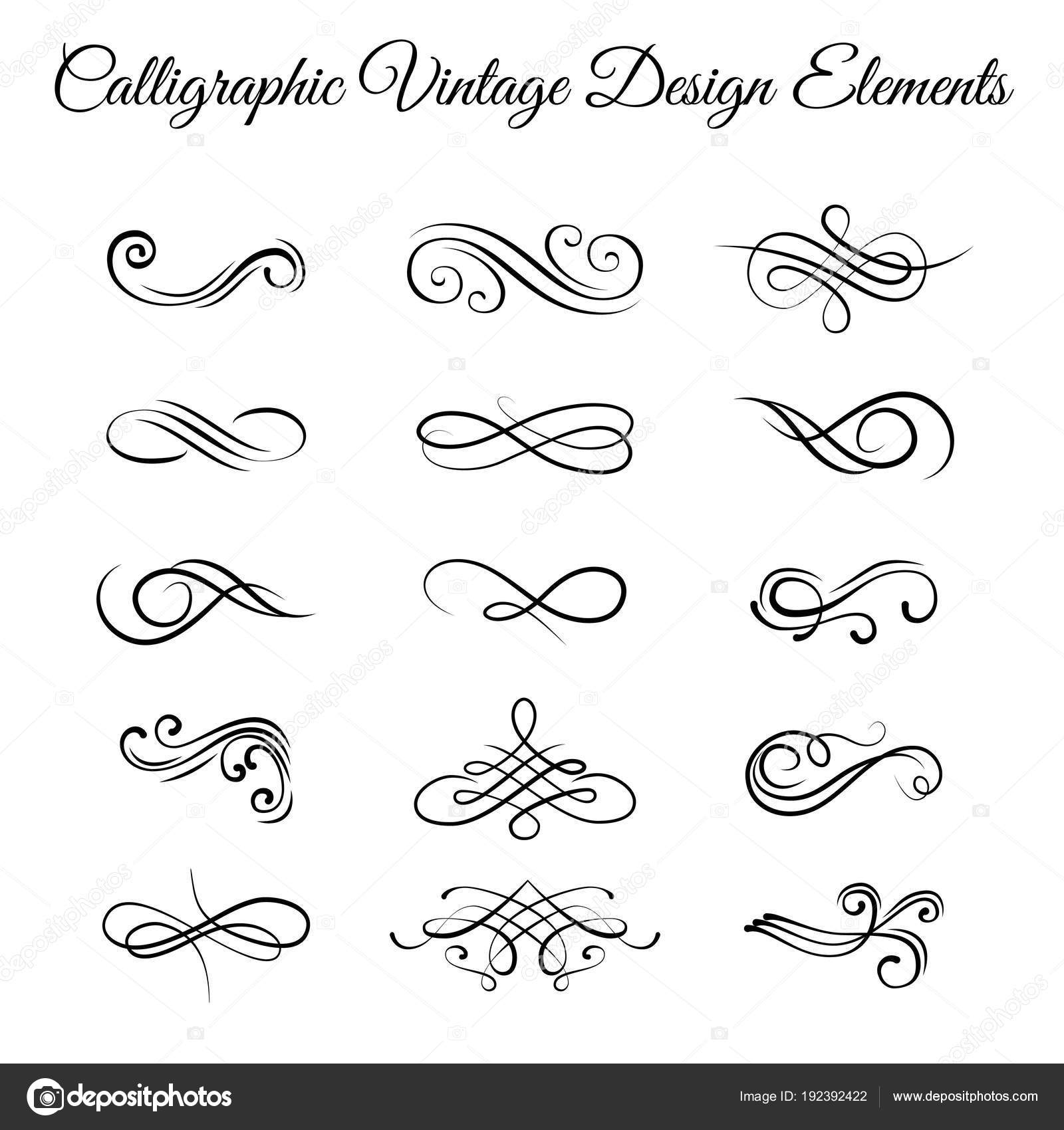 Swirly line curl scroll elements set. Flourish vintage ...