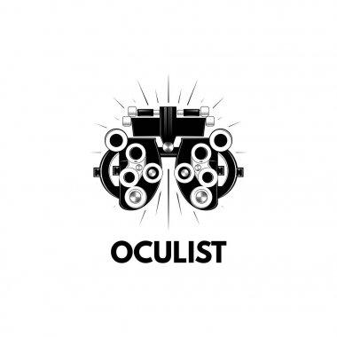 Phoropter. Ophthalmologic equipment. Oculist logo label. Vision test. Vector.