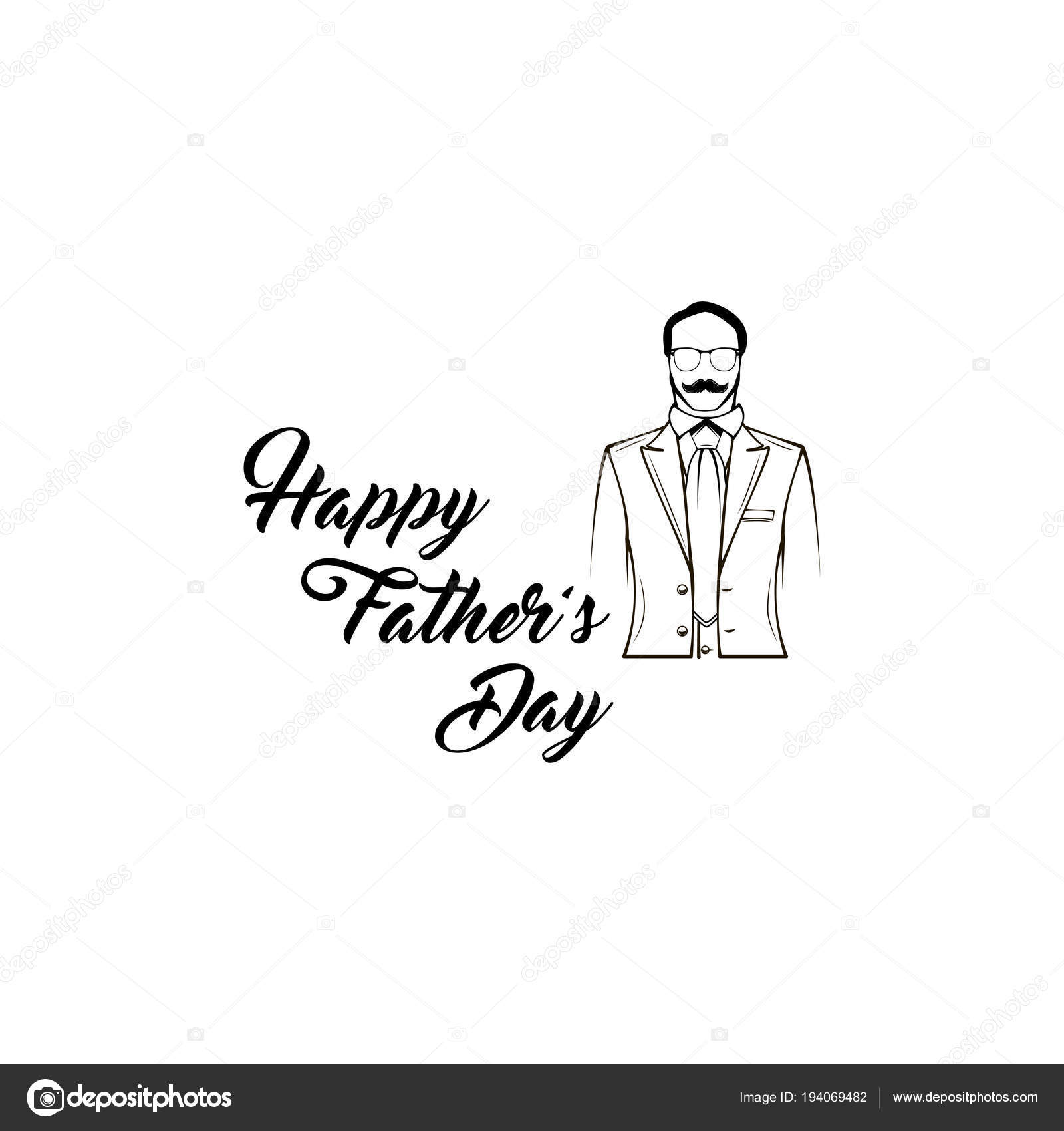 Father Day Greeting Card Male Silhouette Suit Necktie Happy