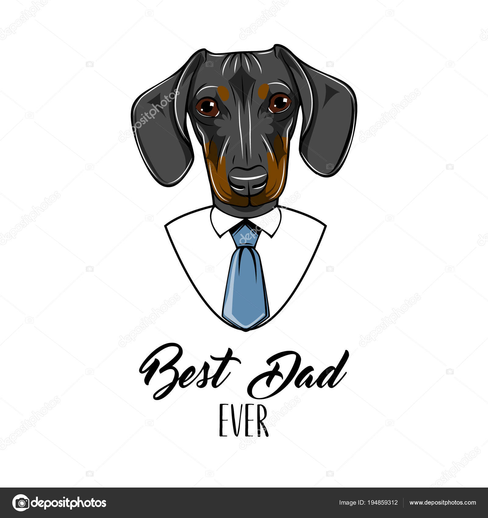 Dachshund Dog Fathers Day Greeting Card Best Dad Ever Text Cute