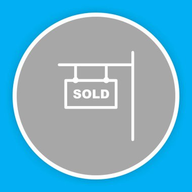 Sold icon isolated on abstract background