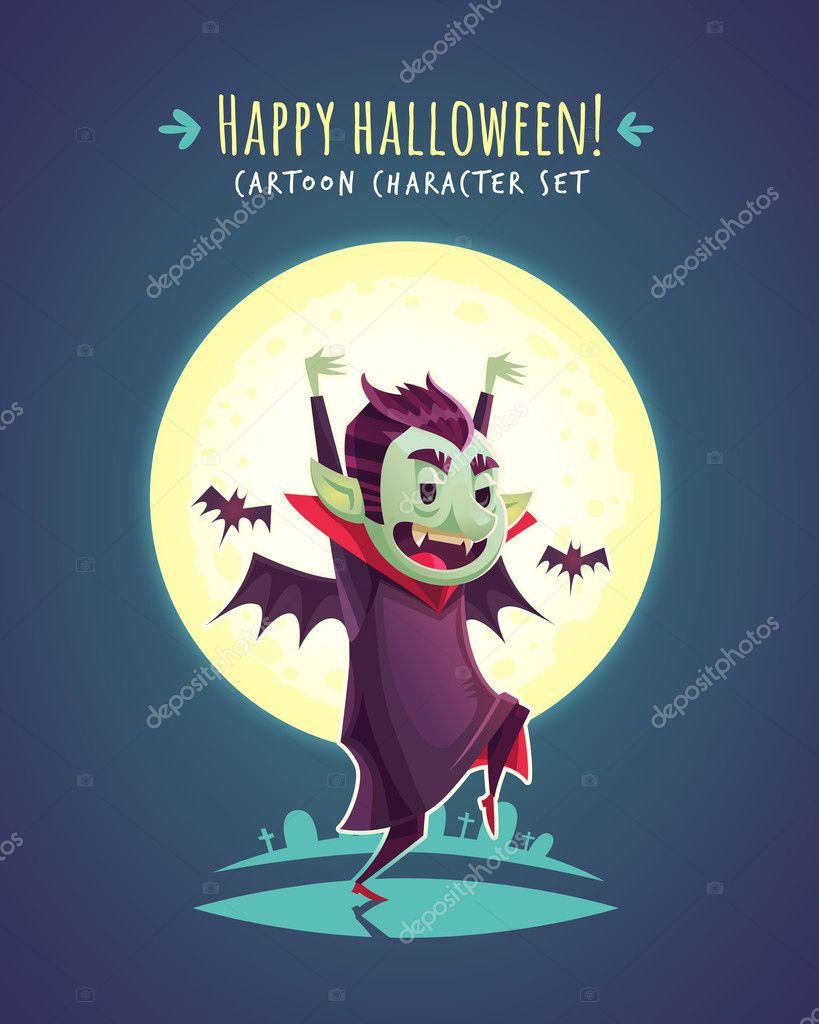 funny halloween vampire. vector character illustration — stock