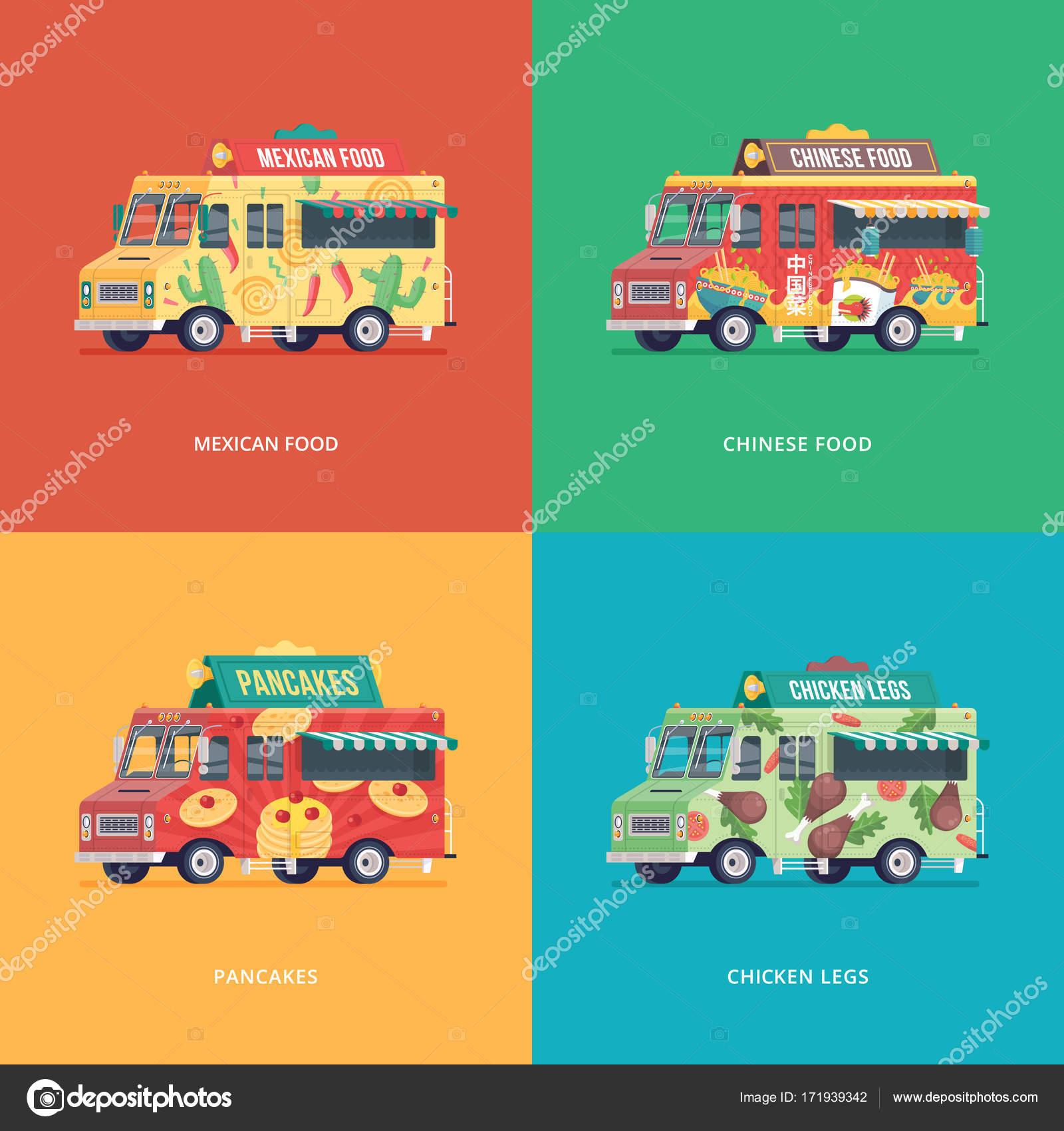 Satz von flachen Lebensmittel LKW Illustrationen. Modernes Design ...