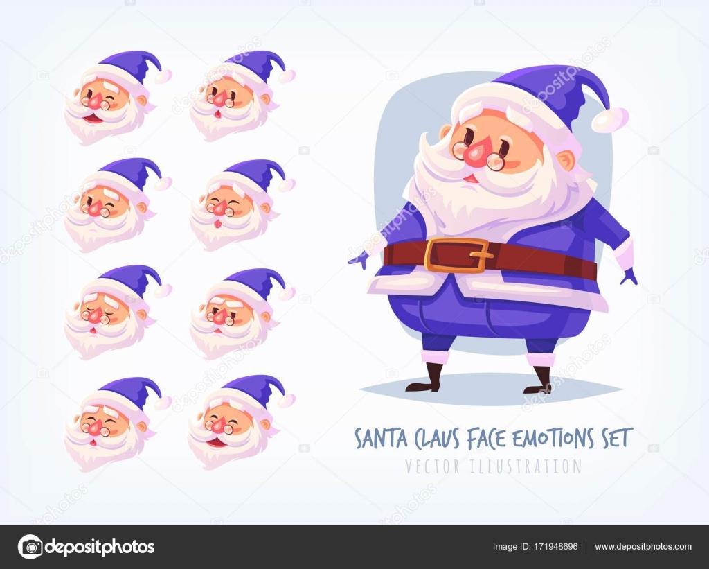 サンタ クロースの顔の感情アイコンかわいい漫画顔コレクション メリー