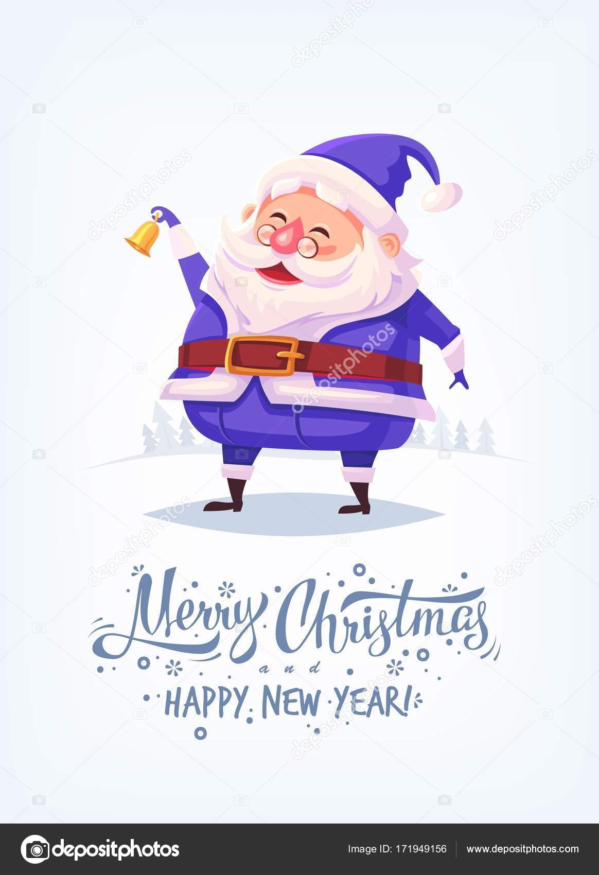 Dessin Animé Mignon Père Noël Portant Bleu Costume Sonnerie